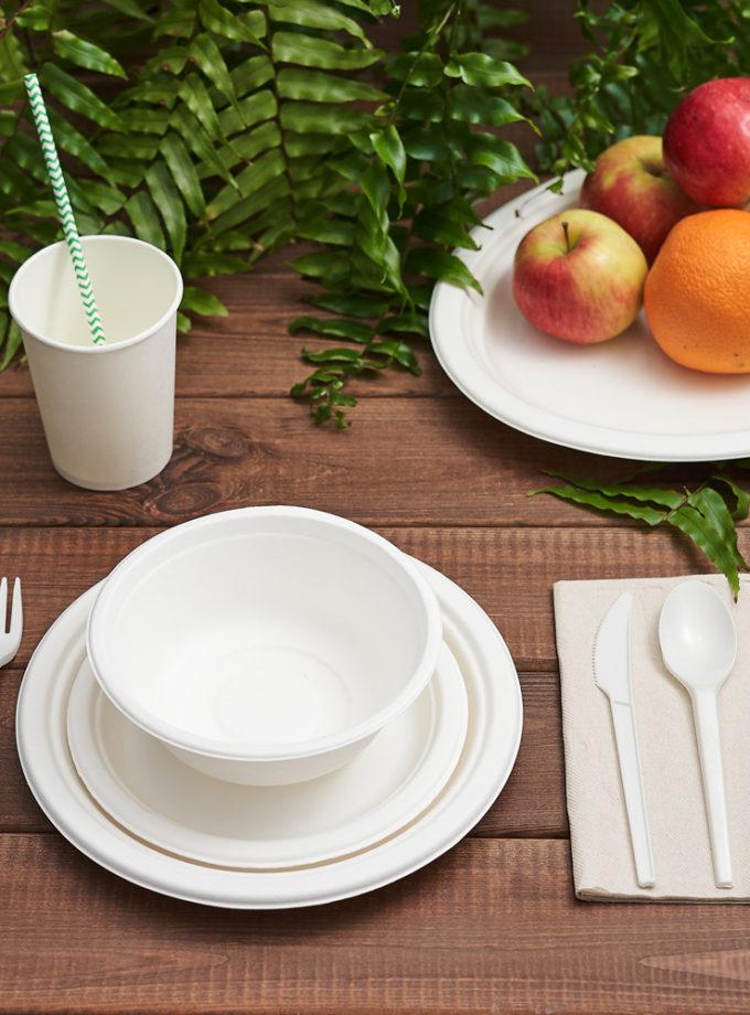 zestaw naczyń z trzciny cukrowej biały ekologiczne przyjęcie w ogrodzie